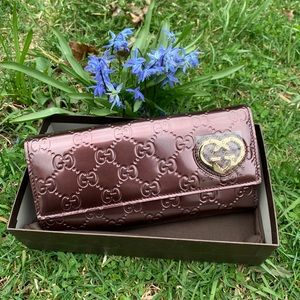 NWT Authentic Gucci Heart GG Front Clutch Wallet